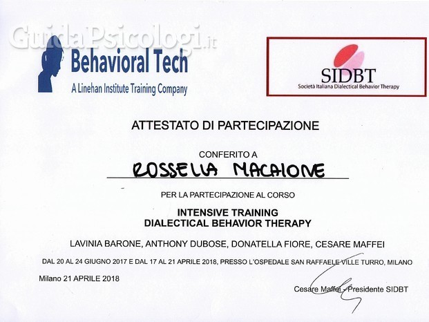 Attestato Intensive training Dialectical Behavioral Therapy