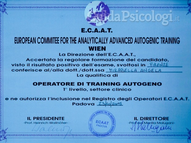 Attestato di Operatore clinico di Training Autogeno Ecaat