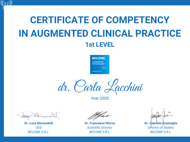 Augmented Psychology Certificate - Clinical Practice 1st Level - Carla Lacchini