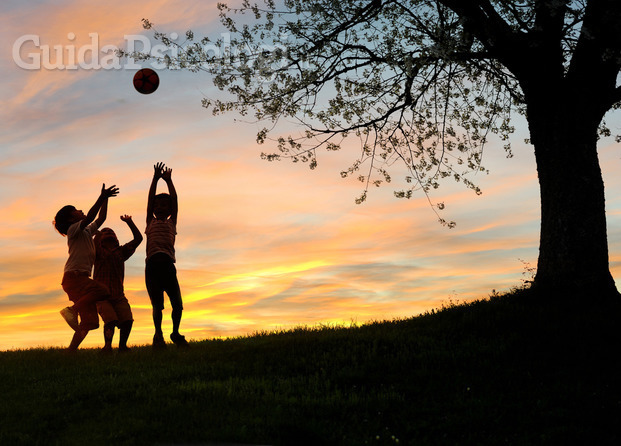 Children playing in sunset